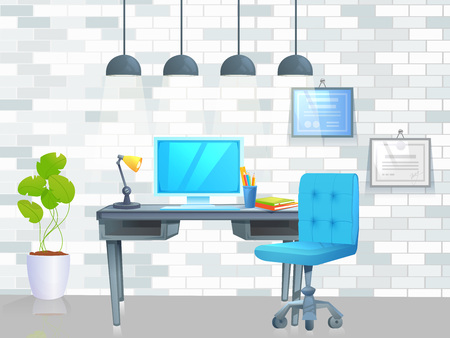 Office furniture design banner. Workplace with table and laptop and coffee. Modern interior . Çizim