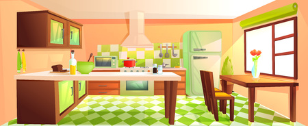 Modern kitchen interior with furniture. Design room with hood and stove and microwave and sink and refrigerator. Vector cartoon illustration Illustration