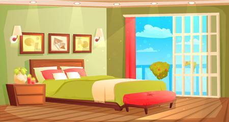 Interior de dormitorio con cama, mesita de noche, armario y ventana y planta. Ilustración de dibujos animados de vector