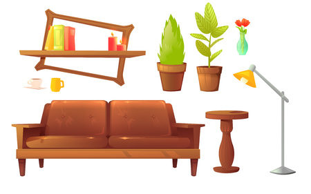 Furniture design set. Modern Sofa and chairs with a blanket, pillows and next to a wooden coffee table.