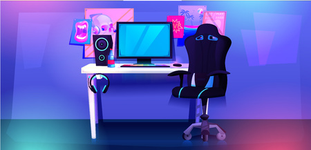 ESports interior banner. Workplace cyber sportsman gamer. A desk with a computer and headphones and a mouse with light and a gamers chair. Çizim