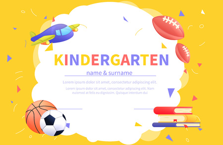 Kindergarten certificate templates for student. Kids design diploma Learning and Education. Vector cartoon illustration Vectores