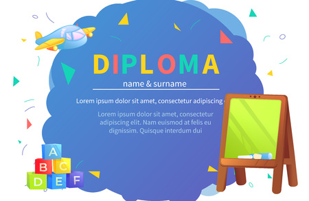 Kindergarten certificate templates for student. Kids design diploma Learning and Education. Vector cartoon illustration Çizim