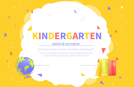 Kindergarten certificate templates for student. Kids design diploma Learning and Education. Vector cartoon illustration Ilustração