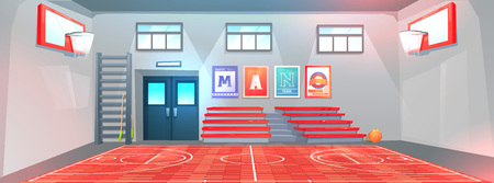Gym interior at school . Basketball field and  hoops and ball. Bench for schoolchildren in gymnasium