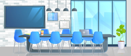 Boardroom Interior Design Home Decor panorama banner. Office Conference hall with long table with modern chairs and full HD tv and loft block wall. Vector catroon illustration