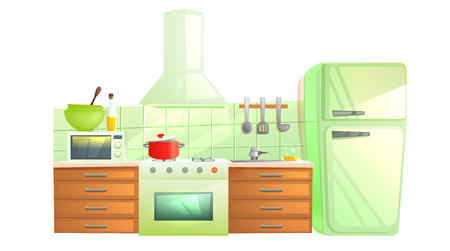 Modern kitchen interior with furniture. Design room with hood and stove and microwave and sink and refrigerator. Vector cartoon illustration Ilustração