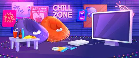 Interior de la sala de juegos para adolescentes. Juega videojuegos en la consola con cómodos sillones y bocadillos para gamers. Ilustración de dibujos animados de vector