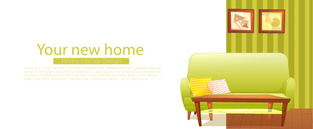Your new home banner. Retro sofa and coffee table. Çizim