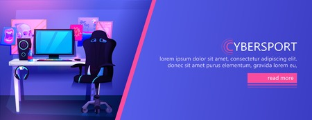 ESports interior banner. Workplace cyber sportsman gamer. A desk with a computer and headphones and a mouse with light and a gamers chair