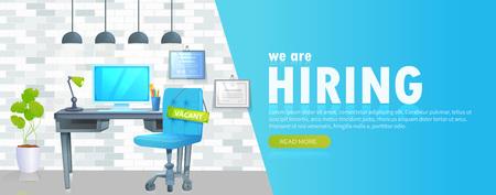 Estamos contratando banner con espacio de trabajo de oficina y letrero vacante e inscripción. Concepto de contratación empresarial.