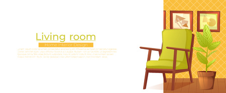 Living room home interior design banner. Comfortable armchair with a plant in a room with retro wallpaper.