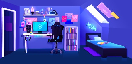Habitación de niño jugador en banner interior ático. Lugar de trabajo ciberdeportista jugador. Un escritorio con una computadora y auriculares y un mouse con luz y una silla para jugadores.