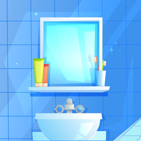 Mirror with a shelf on which a glass, toothpaste and brush. On the background of blue tiles.