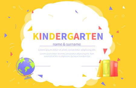 Plantillas de certificado de jardín de infantes para estudiantes. Los niños diseñan el diploma de aprendizaje y educación. Ilustración de dibujos animados de vector