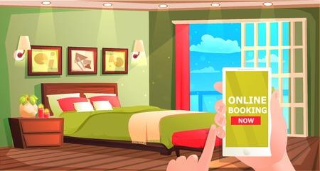 Hotel online booking banner. Interior of modern room for rest. Ilustración de vector