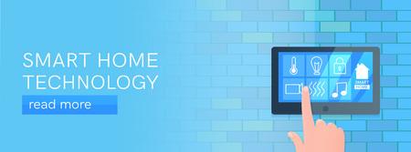 Smart home technology banner. Digital screen on wall.