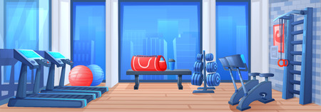 Sport gym interior room. Fitness equipment - a treadmill and a fitballs and a bicycles. Vector cartoon illustration