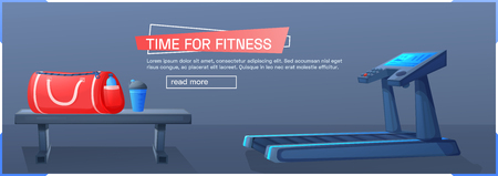 Sport background with treadmill for running . Time for fitness banner design. Vector cartoon illustration