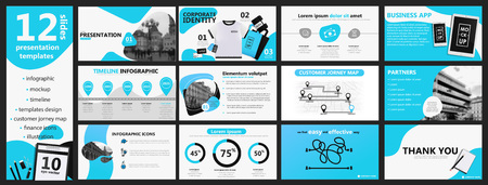 Blue and gray presentation templates and infographics elements background. Vector design banner