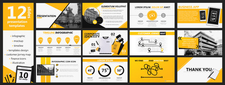Yellow and black presentation templates and infographics elements background. Vector design banner Çizim