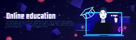 Online education banner. Template with the laptop and man character. On futuristic space background with stars. Vector flat illustration Çizim