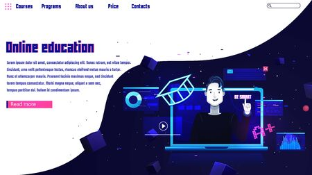 Online education banner. Website template with the laptop and man character. On futuristic space background with stars. Vector flat illustration Çizim