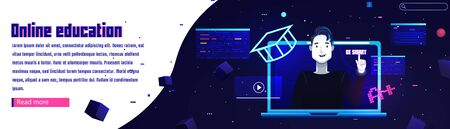 Online education banner. Website template  with the laptop and man character. On futuristic space background with stars. Vector flat illustration