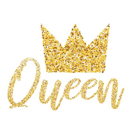 Queens Gold Crown with Glitter isolated on white background. Vector Illustration. Illustration