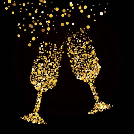 Golden glass with champagne. A black background.