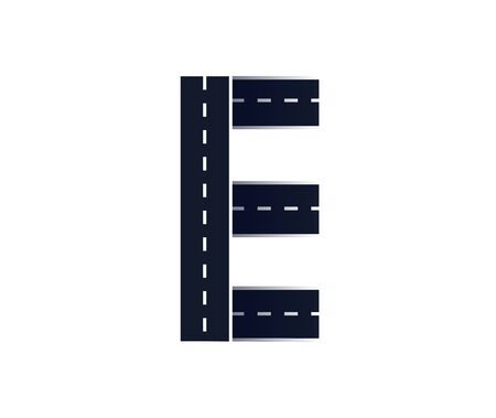Letter E. Road font. Typography vector design with street lines.