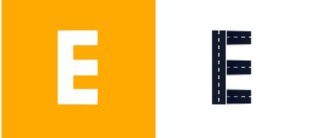 Letter E. Road font. Typography vector design with street lines. On white and yellow background