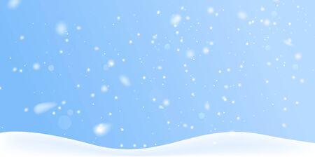 Winter snow background on blue backdrop. Magic white snowfall texture. Vector 3d illustration. Illustration