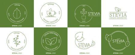 Stevia sweetener design. Vector spoon icon. Dietary supplements. Healthy natural food organic. Vektoros illusztráció