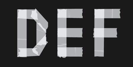 Duct tape font design. Concept texture typeface vector set. Typography stamp letter. Paper cut style alphabet