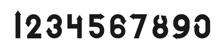 Font numbers design with black arrow.