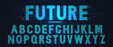 Technology simple type tech design. Vector typeset alphabet. Future typeface set. Geometric modern font. Futuristic style.  イラスト・ベクター素材