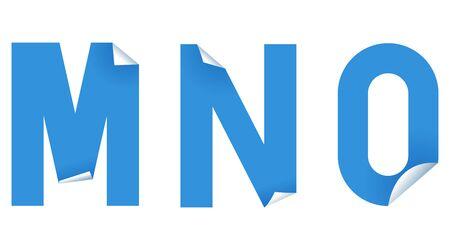 Sticker font in paper art style on white background. Vector type illustration set. Ilustração