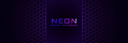 Abstract neon background with violet light, line and texture. Vector banner design in dark night colour
