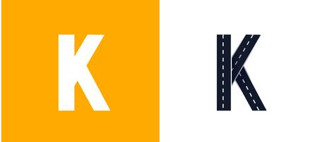 Letter K. Road font. Typography vector design with street lines. On white and yellow background