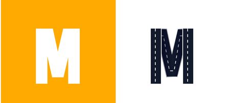 Letter M. Road font. Typography vector design with street lines. On white and yellow background