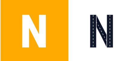 Letter N. Road font. Typography vector design with street lines. On white and yellow background