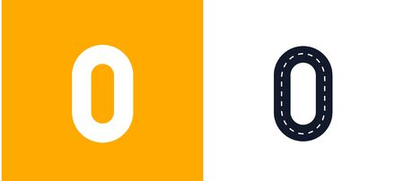 Letter O. Road font. Typography vector design with street lines. On white and yellow background