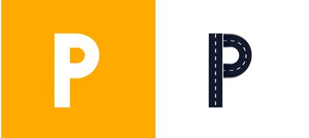 Letter P. Road font. Typography vector design with street lines. On white and yellow background