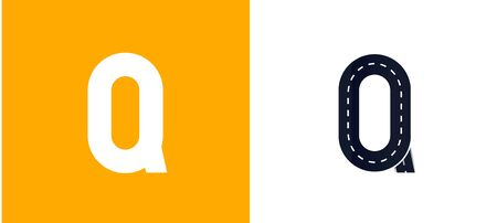Letter Q. Road font. Typography vector design with street lines. On white and yellow background