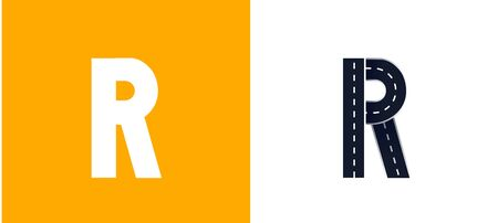 Letter R. Road font. Typography vector design with street lines. On white and yellow background
