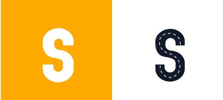 Letter S. Road font. Typography vector design with street lines. On white and yellow background Ilustração