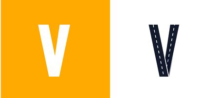Letter V. Road font. Typography vector design with street lines. On white and yellow background