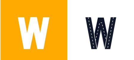 Letter W. Road font. Typography vector design with street lines. On white and yellow background Иллюстрация