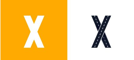 Letter X. Road font. Typography vector design with street lines. On white and yellow background Ilustração